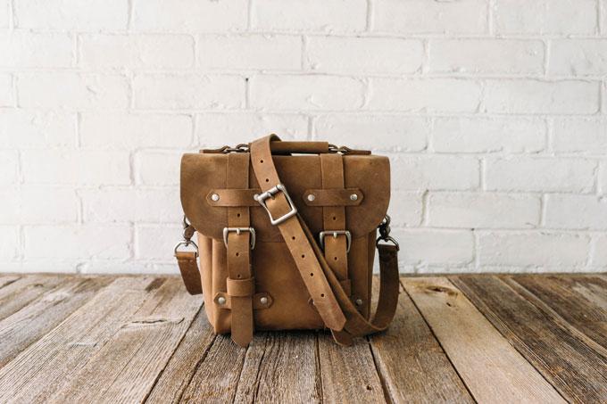 Stock And Barrel Vintage Brown Leather Camera Bag