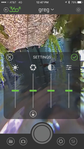 Using the 360fly app, you can remotely control your camera, adjust exposure settings and do some light editing of your immersive footage.