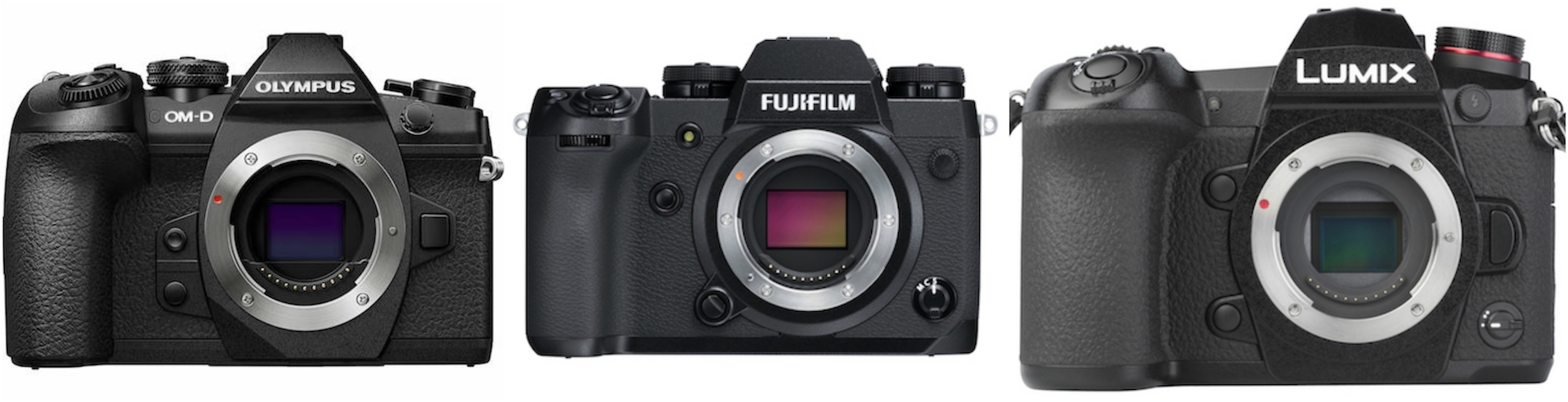 Fujifilm X-H1 vs. Olympus OM-D E-M1 Mark II vs. Panasonic G9